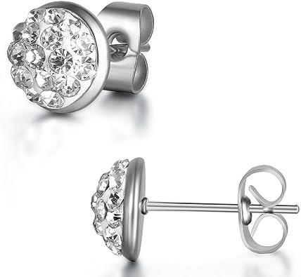 Couleur Argent Acier Inoxydable JewelryWe Paire Boucles doreilles Clous doreille Homme Femme 8mm Avec Sac Cadeau