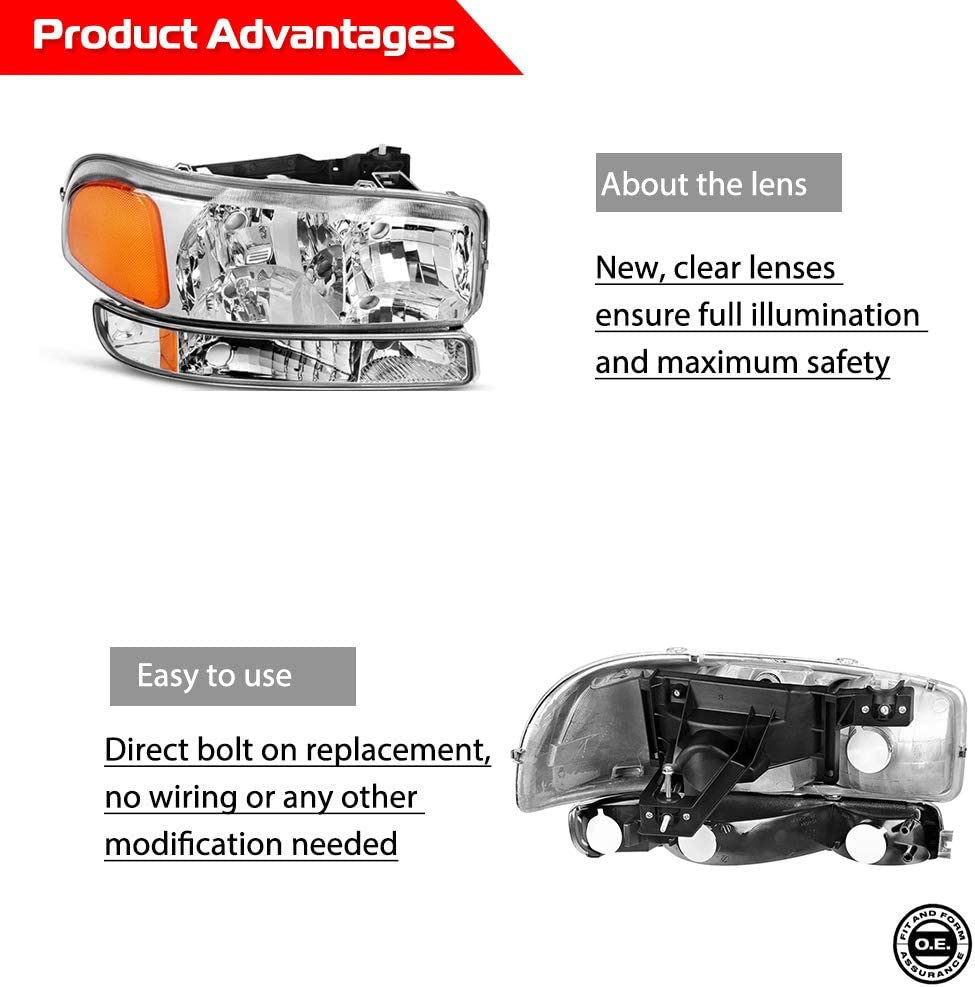 Headlights Assembly for 1999-2007 Sierra Pickup for Passenger and Driver Side with OE # 1585035 15850352 GM2502188 GM2503188