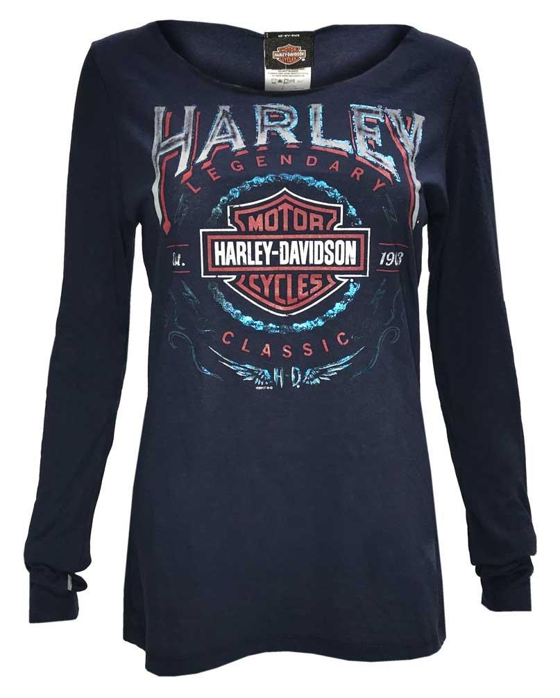Harley-Davidson Women's Thunder Fury Long Sleeve Open Neck Jersey Tee, Navy (XL)