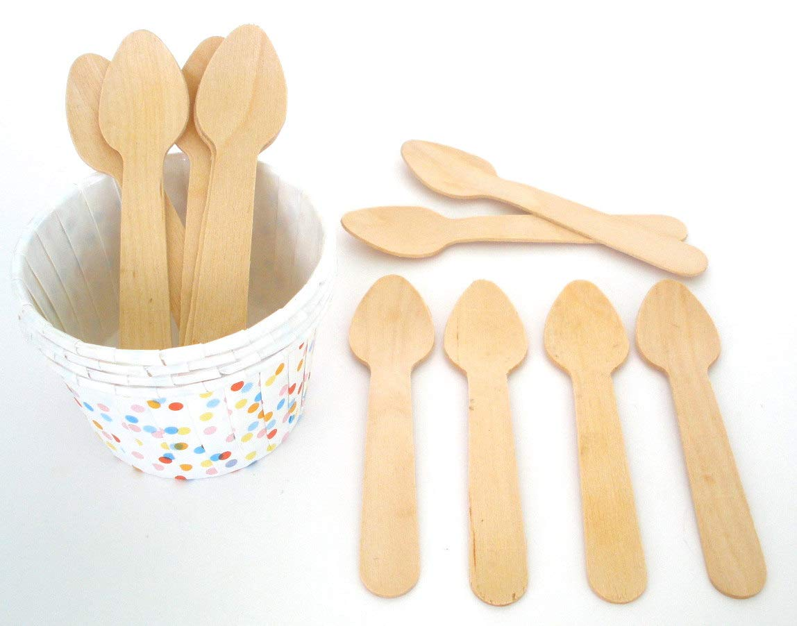 Birchwood Disposable Yogurt Ice Cream Dessertl Spoons Wooden Small Mini Tasting Spoon 200pcs