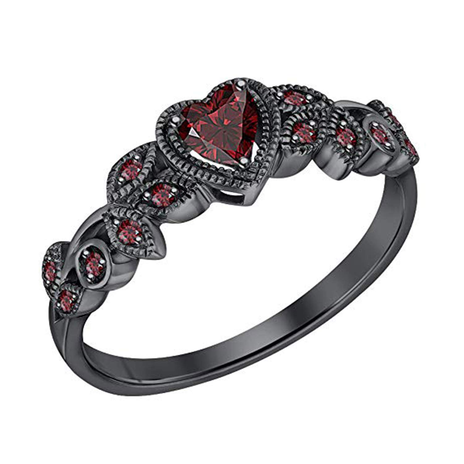 14K Black Gold Plated Fn Simulated Red Ruby Studded Wedding /& Engagement Ring Jewelry