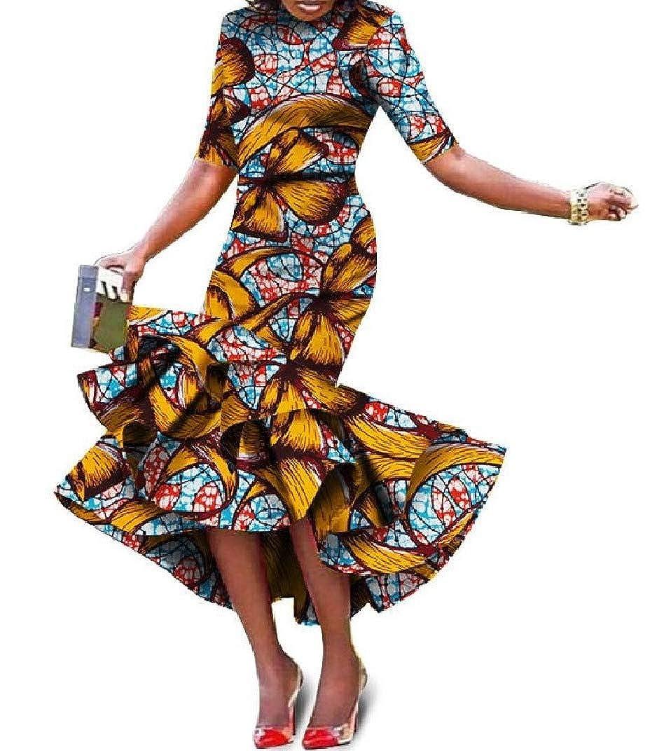 Pattern18 Abetteric Women Folk Style African Style Irregular Short Sleeve Ball Gown Maxi Dress