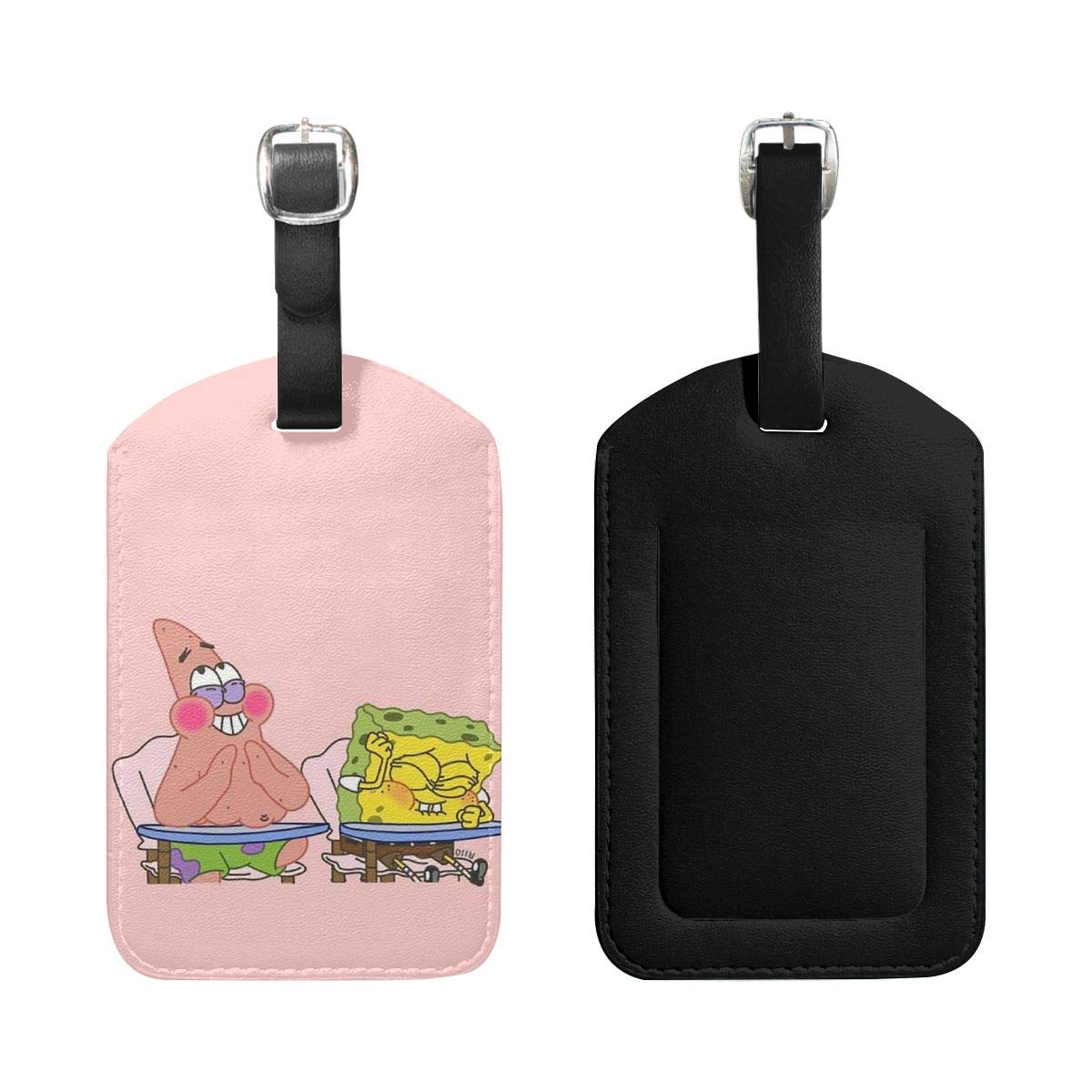 Set of 2 PU Leather Luggage Tags Spongebob Squarepants and Pickstar Suitcase Labels Bag Adjustable Leather Strap Travel Accessories