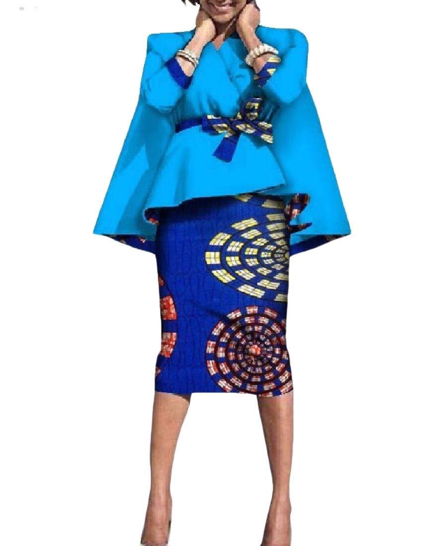 Women Accept-Waist Batik 2-Piece Africa Dashiki OL Bodycon Skirt 2 4XL