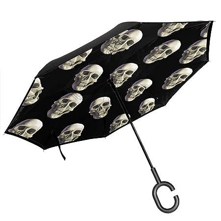 Csiemns - Paraguas invertido invertido con diseño de Calavera de ...