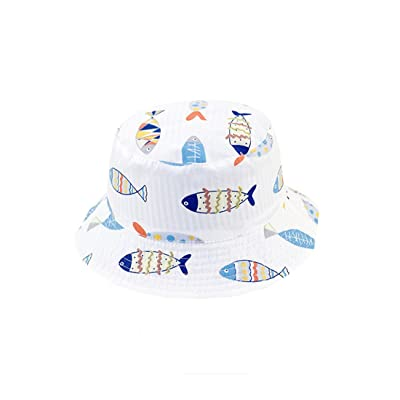 ACVIP Little Boy's Fish Stripe Print Reversible Cotton Bucket Hat Sun Cap