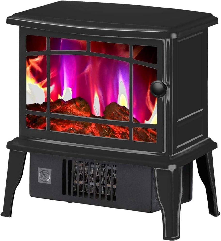 Calentador eléctrico portátil con efecto llama, quemador de leña, portátil, efecto llama, color negro
