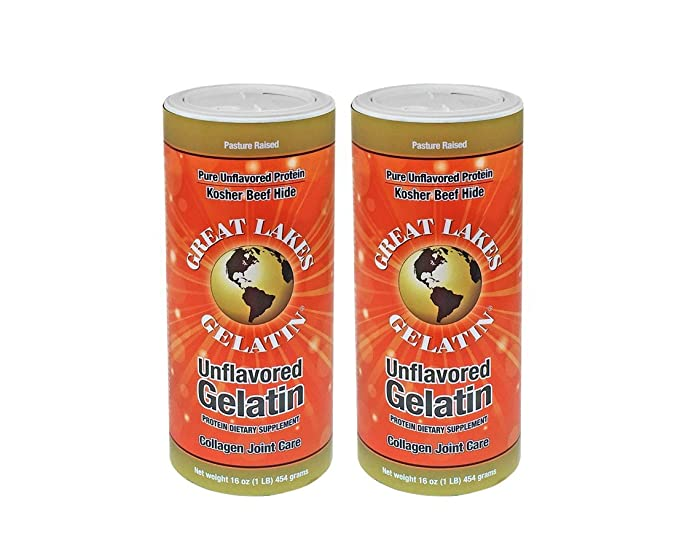 Great Lakes Unflavored Gelatin, Kosher, 16 Ounce Can (2 pack)