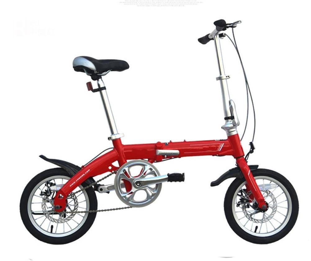 MASLEID 14 pulgadas bicicleta plegable de la aleación de aluminio de doble disco adulto Mini niños de la bici , pink: Amazon.es: Deportes y aire libre
