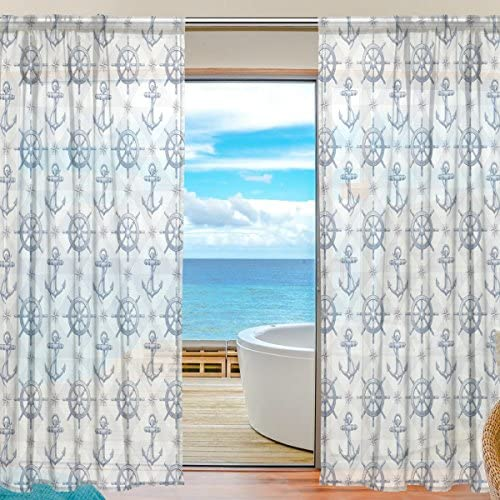 ZhoLing Nautical Ship Steering Wheel and Anchor Window Curtain Sheer Panels 54 x 84 Inches Long Set of 2,Window Treatment Drape