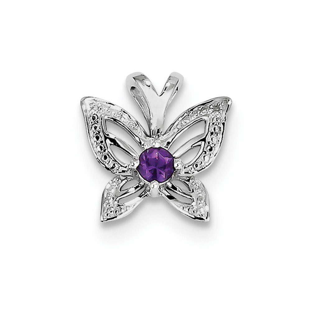 925 Sterling Silver Rhodium Plated Amethyst and Diamond Pendant
