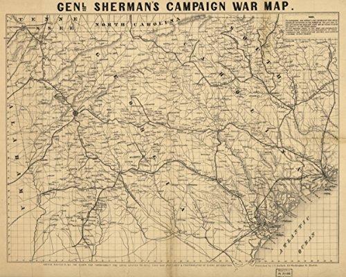 (1864 Civil War Map Georgia & South Carolina Genl. Shermans campaign war map. Des)