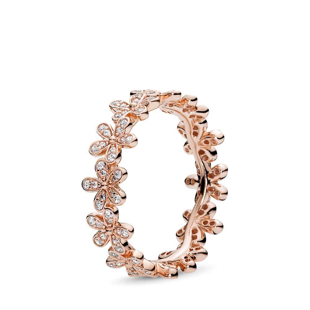 PANDORA Dazzling Daisy Ring, PANDORA Rose, Clear Cubic Zirconia, Size 7