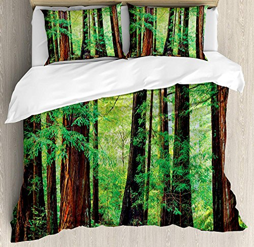 (Woodland Decor Duvet Cover Set Queen Size,Redwood Trees Leaves Northwest Rain Forest Tropic Scenic Wild Nature Lush Branch Theme,Duvet Comforter Cover Set Luxury Soft Twin Duvet Cover Set,Green)