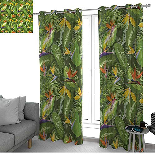NUOMANAN Blackout Curtain Panels Window Draperies Leaf,Fresh Brazilian Forest Untouched Jungle Paradise Tropical Foliage Flowers,Green Yellow Orange,for Bedroom, Kitchen, Living Room 52