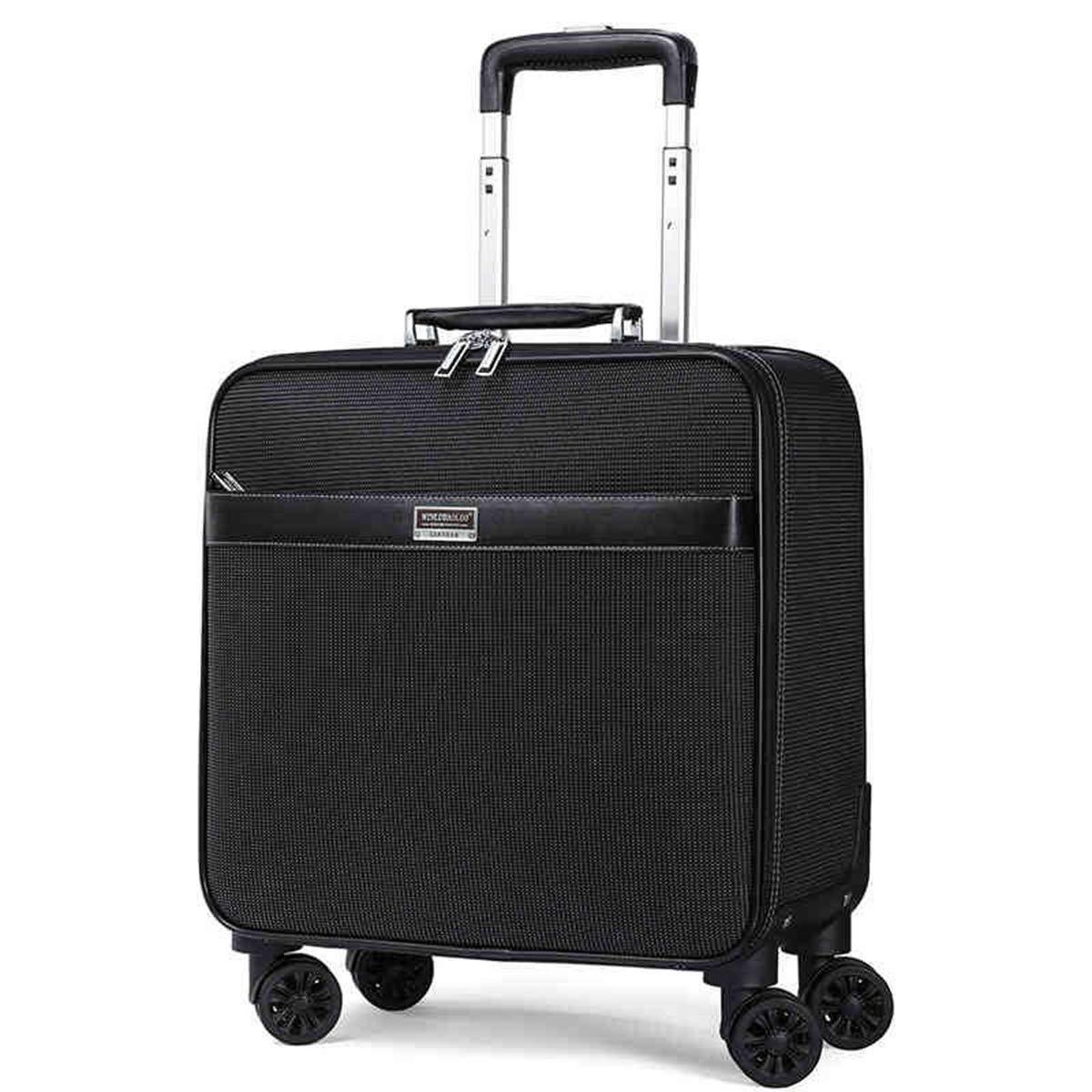 出張搭乗スーツケース軽量旅行は4つの車輪及びTSAロックが付いている小屋手の荷物のスーツケースを続けます,Black,16in B07QDGCWHS Black 16in