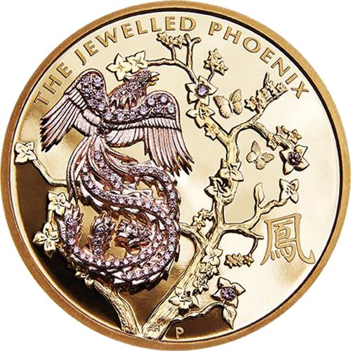 2018 AU Modern Commemorative JEWELLED PHOENIX Argyle Pink Diamonds 10 Oz Gold Coin 2000$ Australia 2018 (Numismatics Gold Coins)