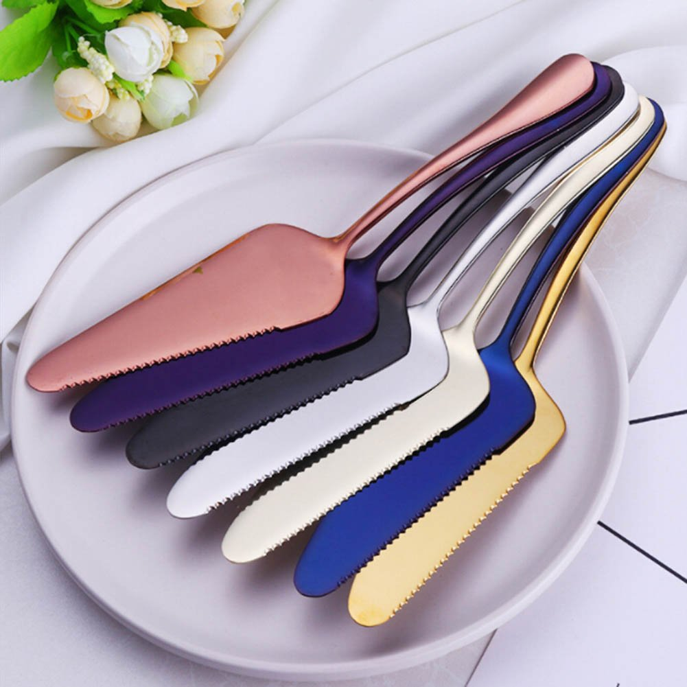 Chige 7 pcs Stainless Steel Pie Cake Server Baked Pizza Shovel Blade Knife Novice Cheese Knife with Fine Serrated Edge