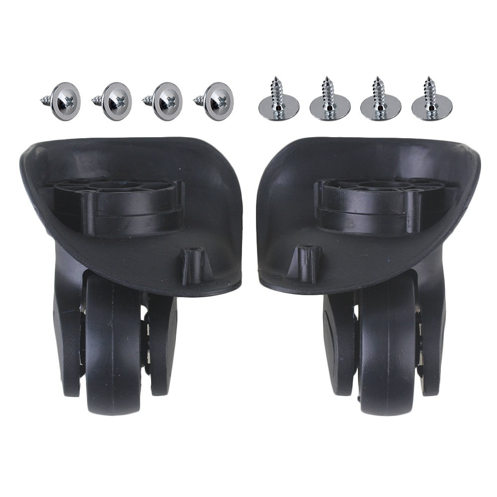 RDEXP Black 10x9.6x5.2cm DIY Left & Right Luggage Wheels with 8 Screws Replacement Set of 2 RDEXPAM