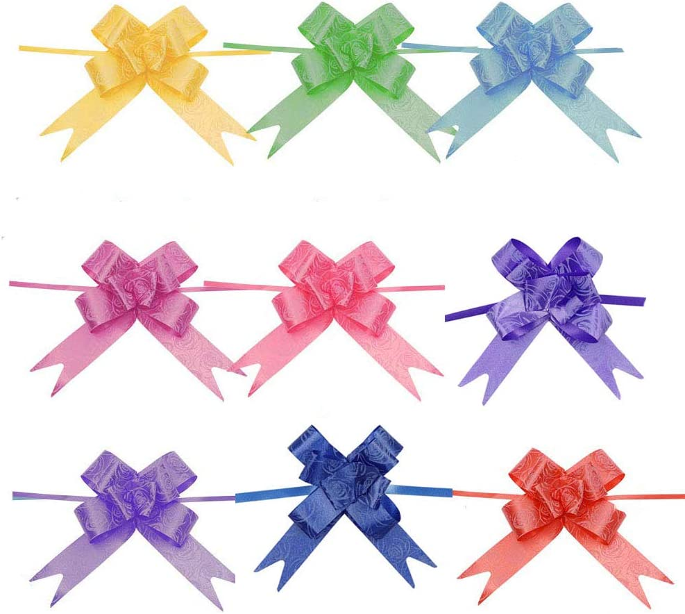 Royee 90 Pcs Pull Bow with Ribbon Multi Color Rose Pattern Basket Gift Pull Wrapping Décor Bows for Birthday Christmas Wedding Thanksgiving Parties Ornament Baby Shower Present (Rose)