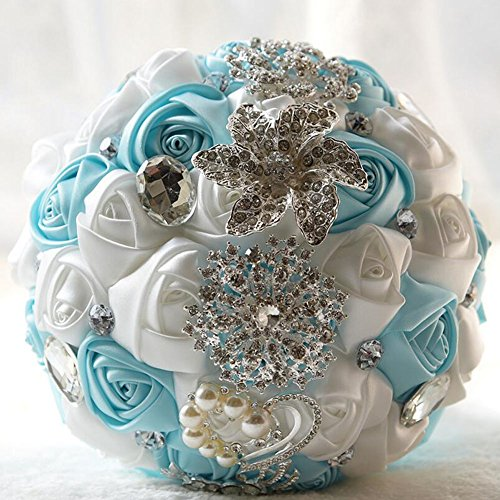 Ziye Shop Luxury Handmade Romantic Wedding Bride Holding Bouquet Silk Roses with Diamond Pearl Ribbon Valentine's Day Bouquet Confession (Blue/White)