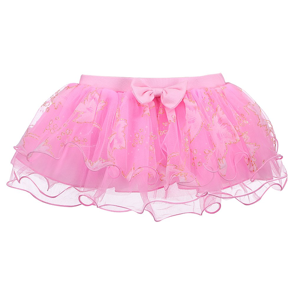 Kidsparadisy 5 Layers Tulle Tutu Glitter Princess Skirt for Little Girls 6M-4Y (Pink, 70(6M-1Y))