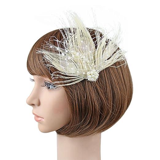 1ee3c693ff389 Amazon.com: BUYITNOW Flapper Hair Clip 1920s Pearl Feather Headwear ...