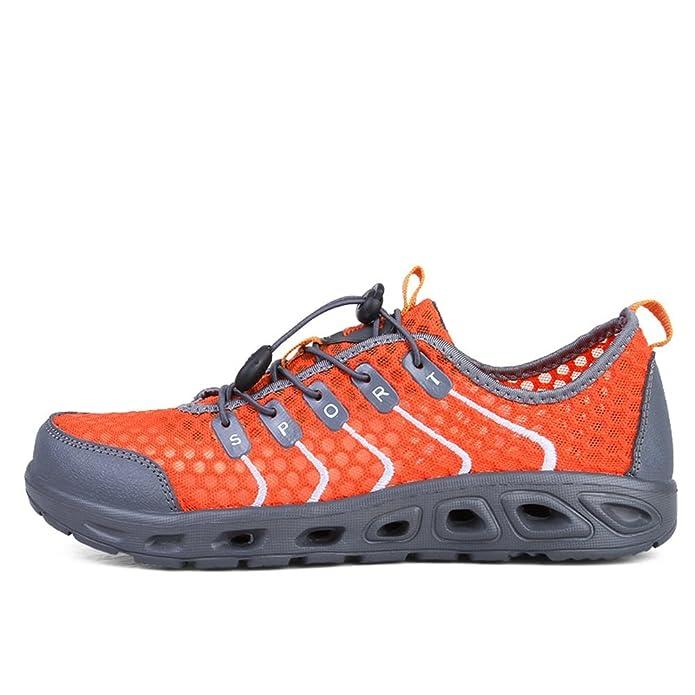 Chaussures athlétiques de Tissu de Maille de Talon Plat pour des Femmes et des Hommes,Chaussures de Cricket (Color : Orange Red, Size : 37EU)