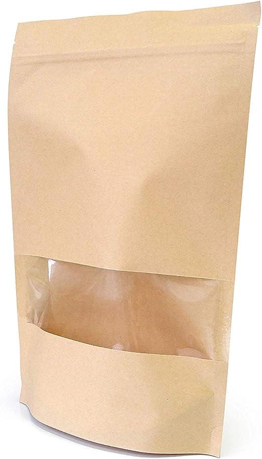 Hoja de papel Kraft Bolsa Stand Up Bolsa zip lock resellable sellado térmico ventana de visualización