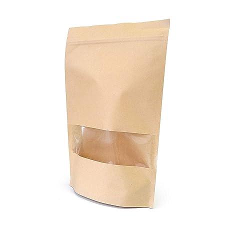 SumDirect 50Pcs 18 x 26 cm Bolsas de Papel Kraft con Cierre, Bolsas Zip Alimentos con Ventana para Guardar