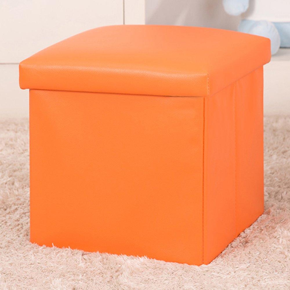 WER Faux Leather Folding Storage Ottoman Cube Foot Rest Stool Seat 12''x 12''x 12''(Orange)
