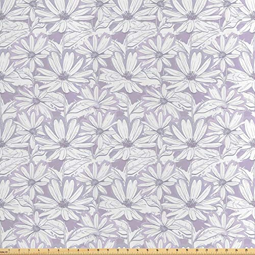 - Lunarable Floral Fabric by The Yard, Pattern of Chamomiles Hand-Drawn Daisies with Grunge Effect Pastel Garden, Decorative Satin Fabric for Home Textiles and Crafts, 1 Yard, Pale Mauve White