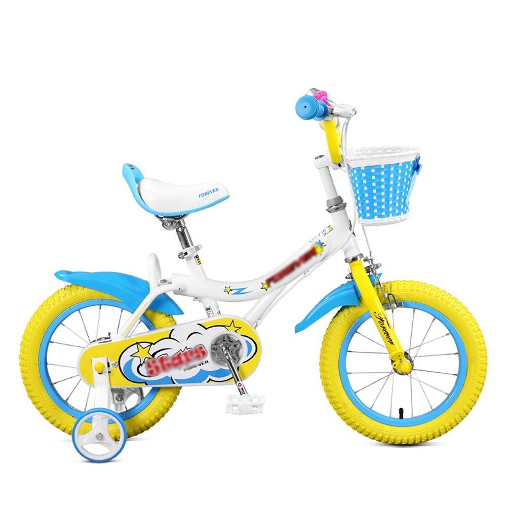 子供用自転車12 14 16インチ3-8歳のベビーシッターガールベビーカー学生ペダル自転車 B07DVVKKKP 14 inch|Blue+Yellow Blue+Yellow 14 inch