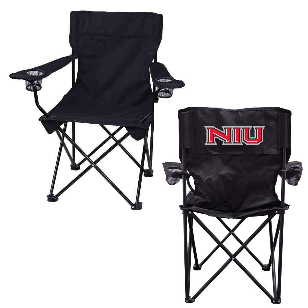 VictoryStore Outdoor Camping Chair – Northern Illinois University NIU Black Folding Camping Chair with Carry B