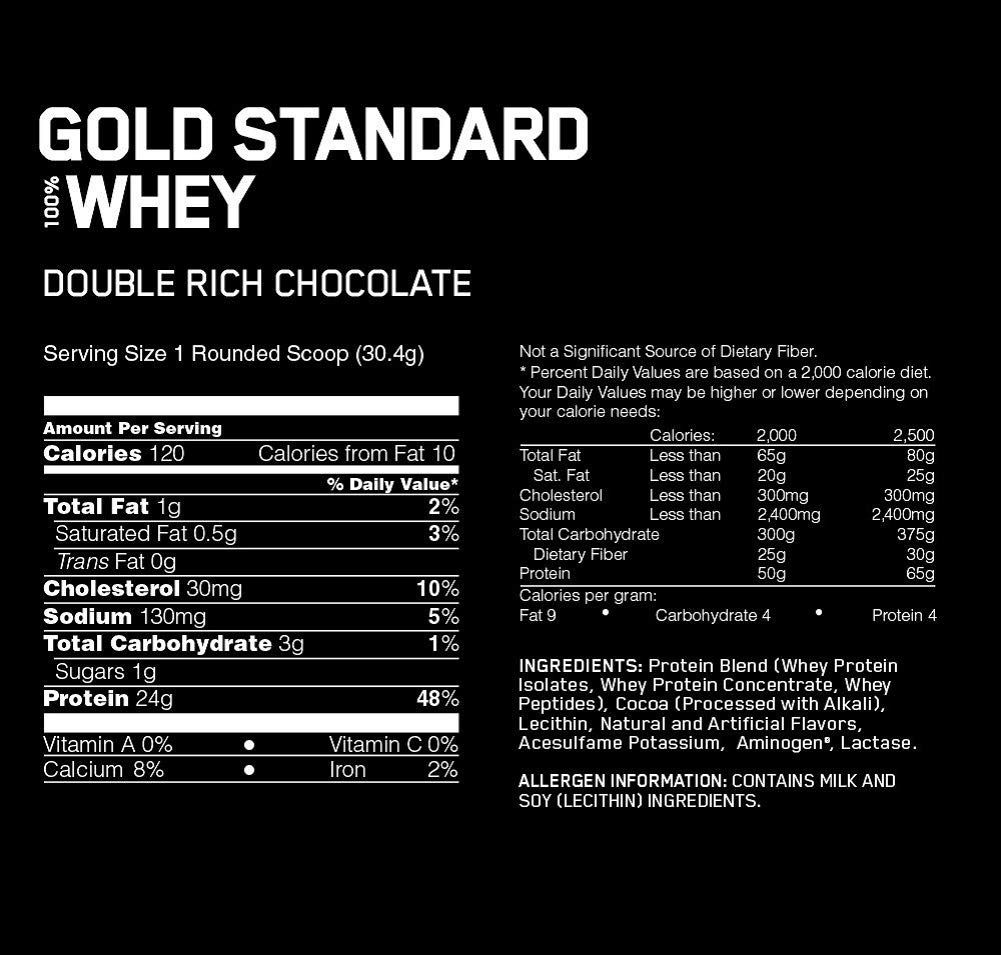 Amazon.com: OPTIMUM NUTRITION GOLD STANDARD 100% Whey Protein Powder, Double Rich Chocolate 2 Pound: Health & Personal Care