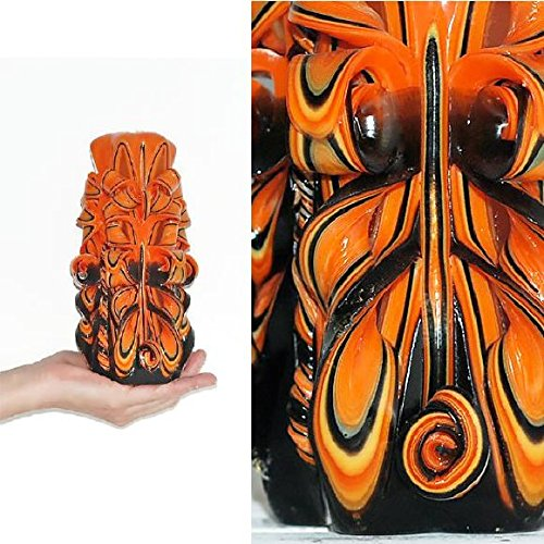 Candle   Carved Candle   Interior Decoration   Halloween   Christmas Gift  Ideas   Christmas Gift For Man   Gift For Women   Unique Gift   Orange And  Black ...