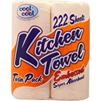 Cool & Cool 222 Sheets Kitchen Towel Roll Tissue Twin Pack, 4 pieces