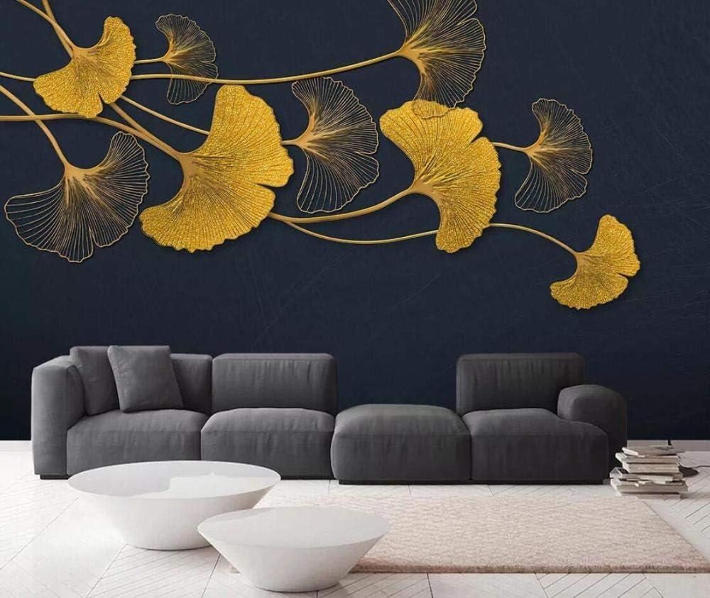 Feuilles De Ginkgo Papier Peint 3D Lignes Dor/ées En Relief Luxe L/éger Papier Peints Intiss/é D/écoration Murale