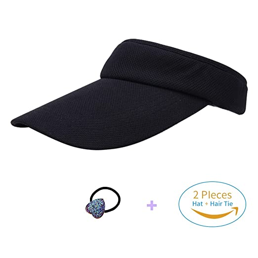 HADM Women s Sun Visor Hat with Ponytail Hole UV Protection Shade Cap with  Wide Brim Multi 2c659d204cd