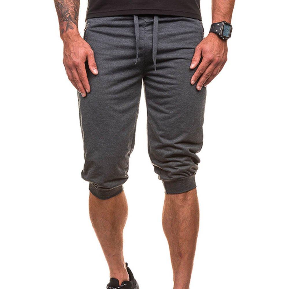 Shorts for Men, F_Gotal Men's Casual Dance Sportwear Elastic Waist Sports Pants Training Jogger Shorts Sweatpants Dark Gray