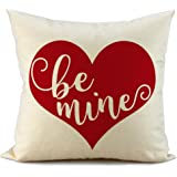FIBEROMANCE Valentines Red Heart Pillow Covers Be Mine Decorative Cushion Cases Pillow Case for Sofa Couch Bedroom Car Spring Home Decor Cotton Square Pillowcase 18 x 18 Inch