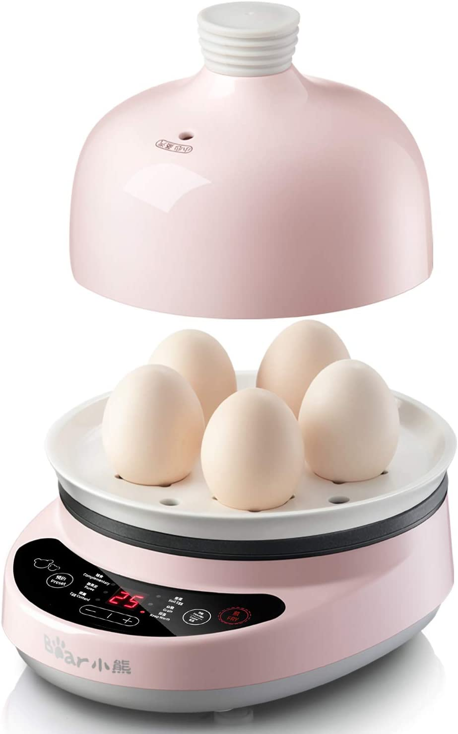 Bar Rapid 5 Capacity Electric Egg Cooker for Hard Boiled, Poached, Scrambled, Steamed Vegetables, Seafood, Dumplings & More, with Ceramic steaming rack and lid, Auto Shut Off