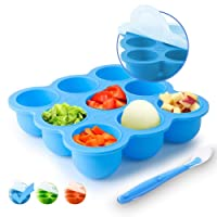 Silicone Food Storage Freezer Tray with Clip-On Lids+Spoon,Baby Food Containers-...