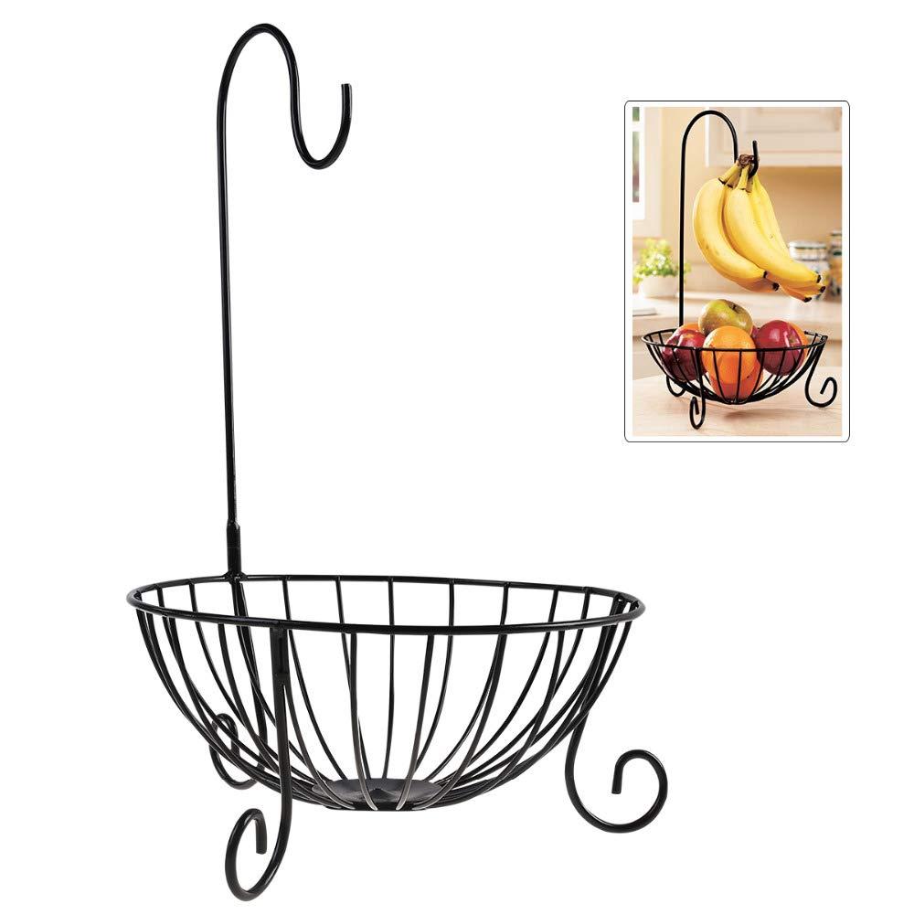 Novelty Kitchen Metal Fruit Basket with Detachable Banana Hanger Fruit Storage Holder Rack