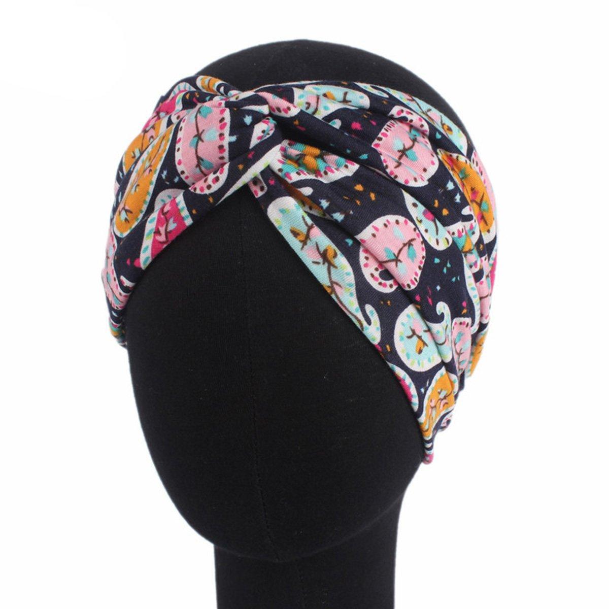 Butterme Donne Ragazze fasce elastiche Fiore stampato la fascia retr/ò maglia di cotone morbido ritorto testa del turbante Wrap