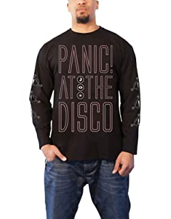 416641384 Panic At The Disco T Shirt Outline Band Logo Official Mens Black Long Sleeve