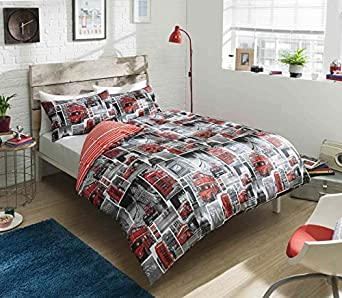 pieridae london red bus reversible duvet bedding cover pillowcase buses luxury case quilt bed bedroom set