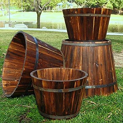 Shine Company Bilbao Round Cedar Wood Tall Barrel Planter - Set of 4