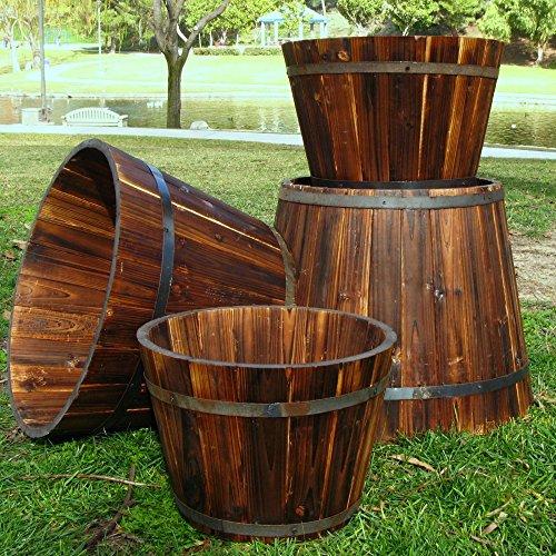 Shine Company Bilbao Round Cedar Wood Ta - Wood Round Planter Shopping Results