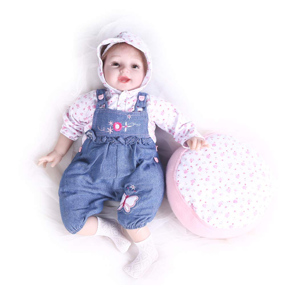 Pompon 55cm/22 Life Like Reborn Baby Girl Vinyl Silicone Newborn Real Realistic Dolls Baby Dolls Pillow with Toys (PP014)